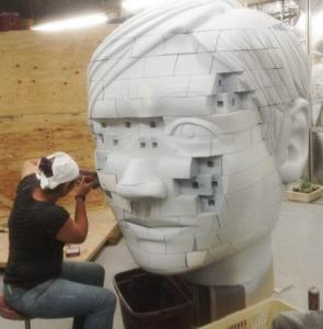 Giant puzzle head